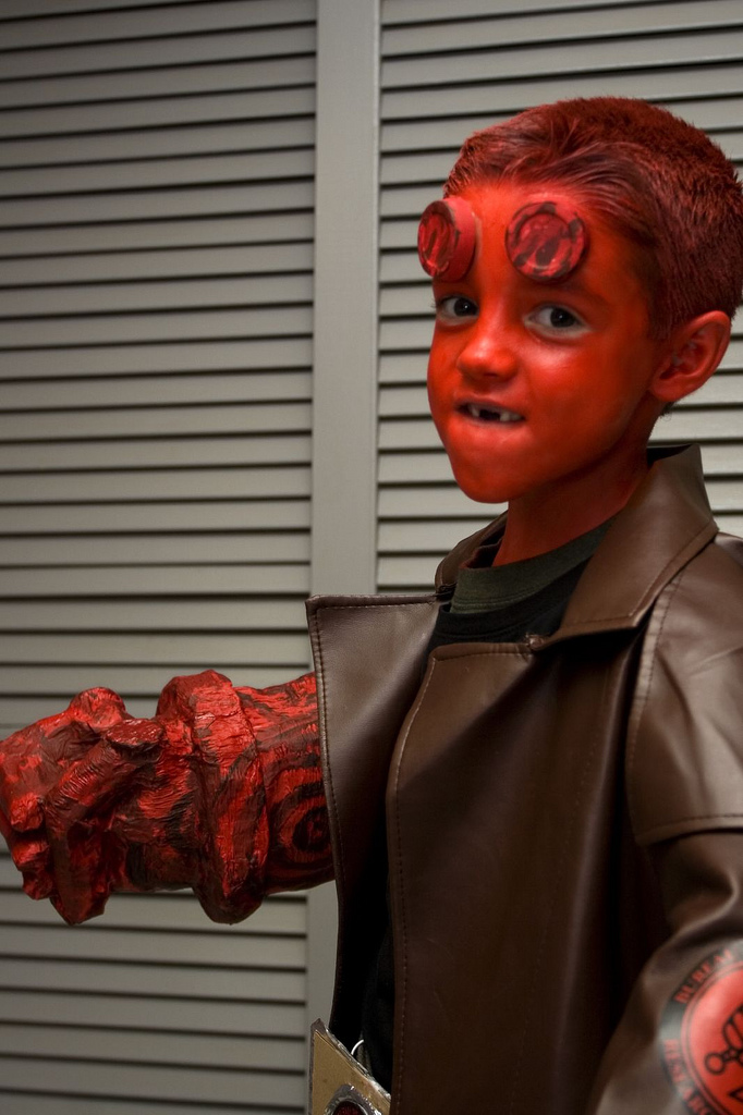i really like the first kid with the amazing hellboy costumethat must have taken forever to put together if youre looking for some cool halloween